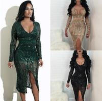 Nude Green Black Sequin Dress Autumn Women Sexy Perspective Mesh Dress V Neck Long Sleeve Evening Party Nightclub Dress WNY 06