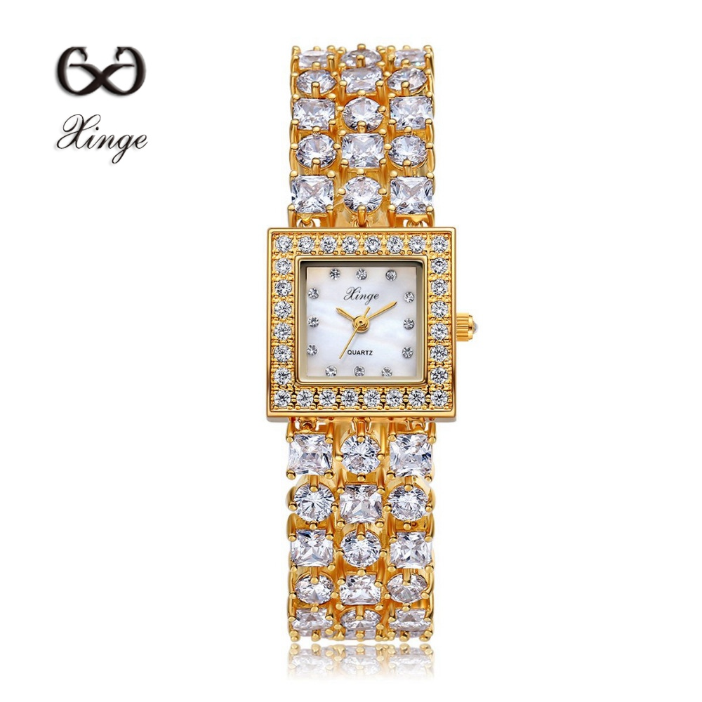 ФОТО Xinge Brand Luxury Zircon Copper Bracelet Shell 30M Waterproof Wristwatch Women Dress Rhinestone Diamond Ladies Quartz Watch