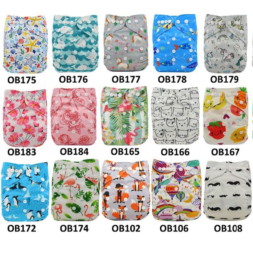 Ohbabyka Reusable Baby Diapers Washable Pocket Diaper Cover Adjustable Nappies Baby Cloth Diapers Training Pants 20pcs/lot