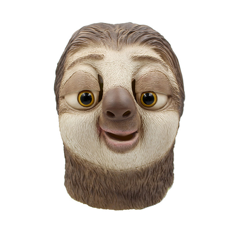 Adult Latex Full Head Animal Sloths Masks Costumes Cosplay for Funny Halloween Masquerade Party Props Drop Shipping