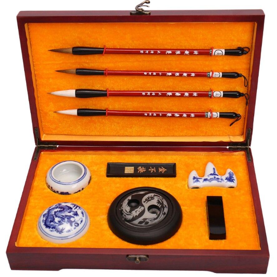 Набор кистей для китайской каллиграфии с четырьмя сокровищами, Набор ручек, набор для рисования, коробка из розового дерева, лучший подарок