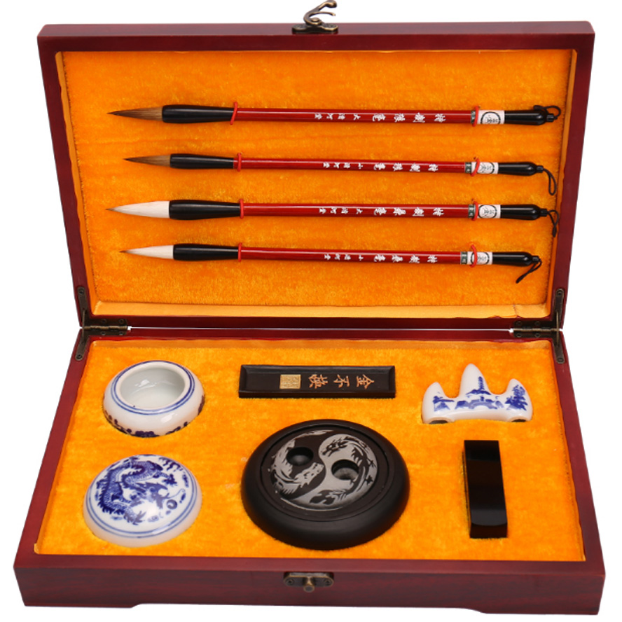 the Four Treasures of Study Chinese Calligraphy brushes Pen Set Painting Supply Art Set with Rosewood Box best gift for Artist the art treasures from mosсow museums