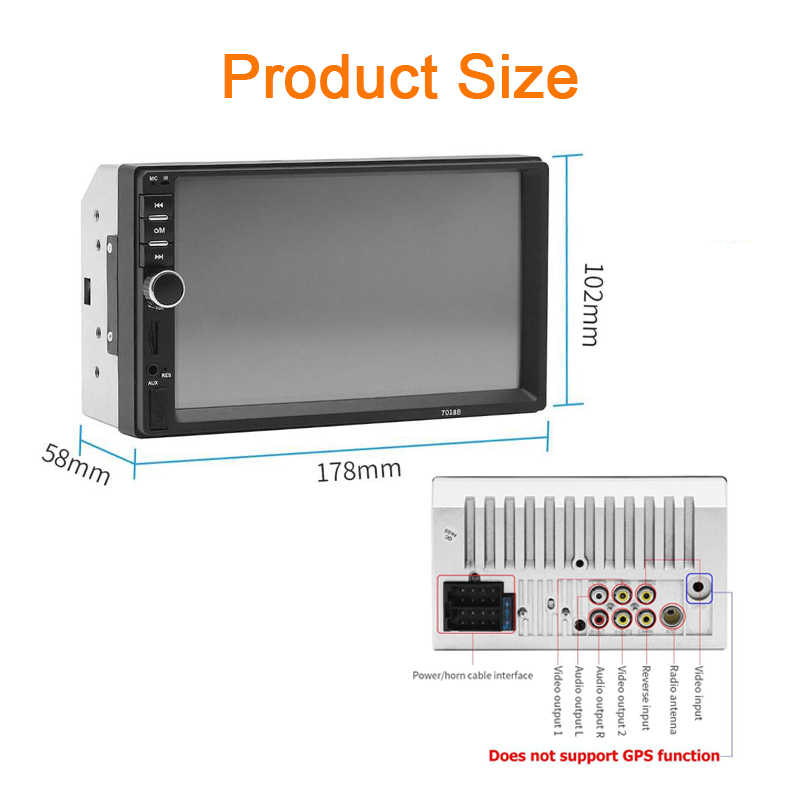 2 Din Auto radio Lettore MP3 Touch screen Bluetooth Car Stereo Autoradio radio cassette Player FM/MP5/USB /AUX 7 pollici Specchio Link
