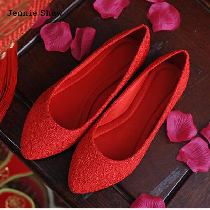 Autumn Bride Red White Large Size Pointed Bridesmaid Dress Flat Wedding Shoes Women Sys-1643
