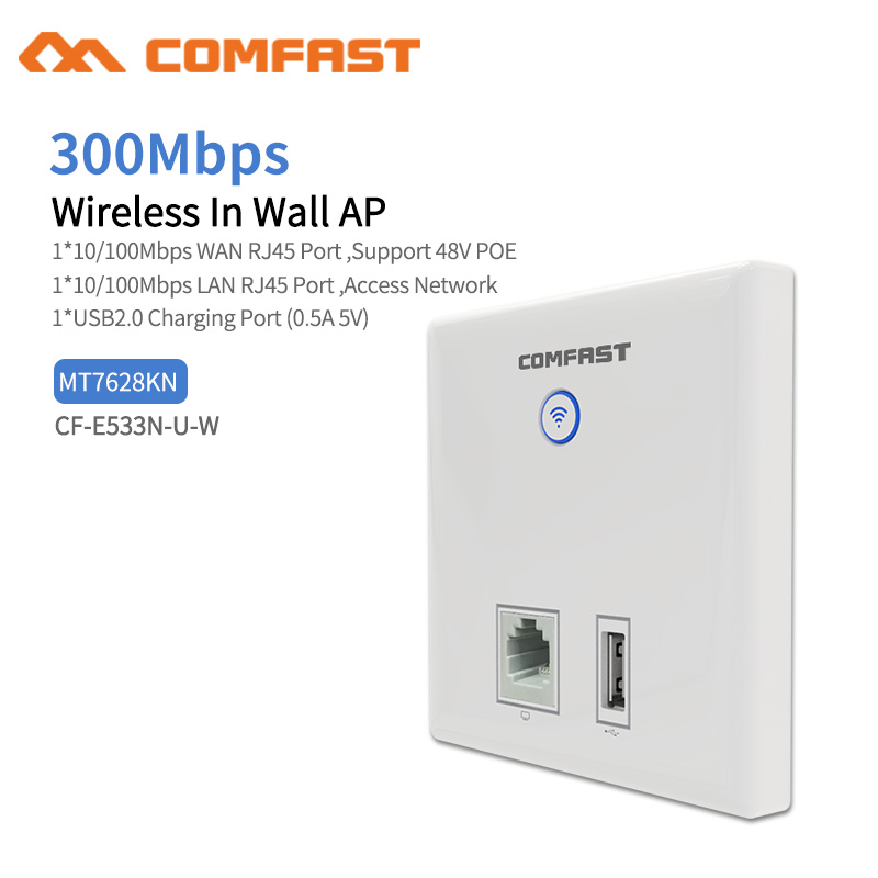 Comfast E533N 300Mbps in Wall AP WiFi Access Point Wireless for Hotel Wi-Fi Project Support AC Management & RJ45 + USB Wall AP Price $24.88