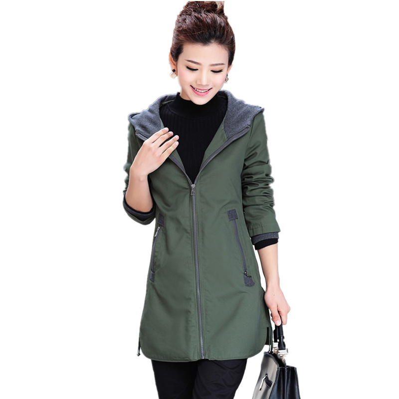 2018 New Spring Autumn Casual Plus Size Women's Coat Middle Aged Mother Hooded Slim Long   Trench   Coat Female Outerwear C253