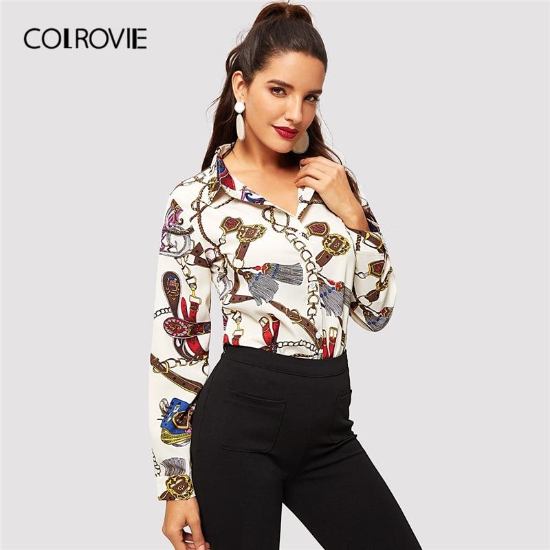 COLROVIE Chain Print Casual Blouse 181129253