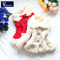 2016 Children Faux Fur Coats Winter Princess Baby Girl Fashion Jackets Kids Brand Thermal   Bow three color