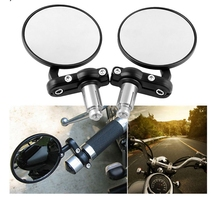 2Pcs Universal Motorcycle Mirror Aluminum Black 22mm Handle Bar End Rearview Side Mirrors Motor Accessories