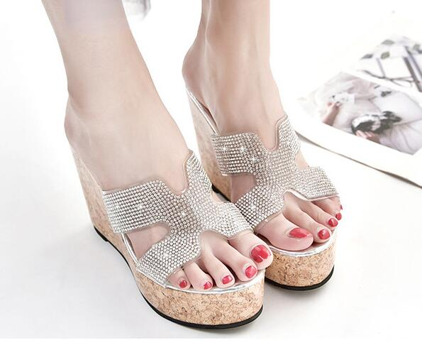 Women Sandals Beach-Shoes Water-Drill H-Slippers High-Heels Bottom Drag-Slope Cake-Thick