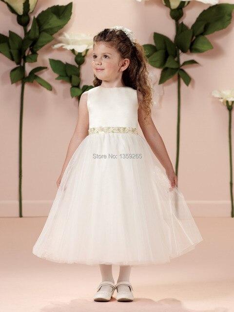 Free Shipping 2014 Off White Flower Girl Dresses Sashes Flowers ...