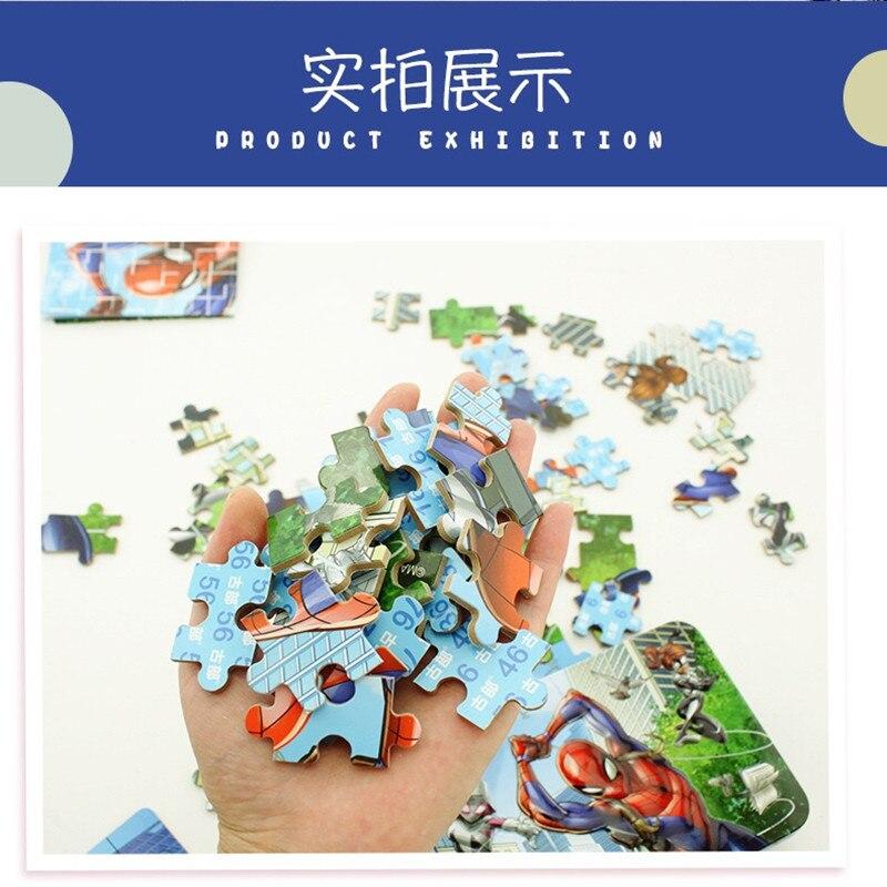 Original Disney  Avengers Spiderman Car Disney Puzzle Toy Children Wooden Jigsaw Puzzles Kids Educational Toys for Children Gift 5