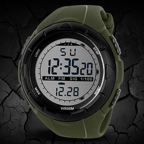 2015 hot Men's Waterproof LED Silicone Band Timer Quartz Sports WristWatches Men 4D3W 6T35 smt 89