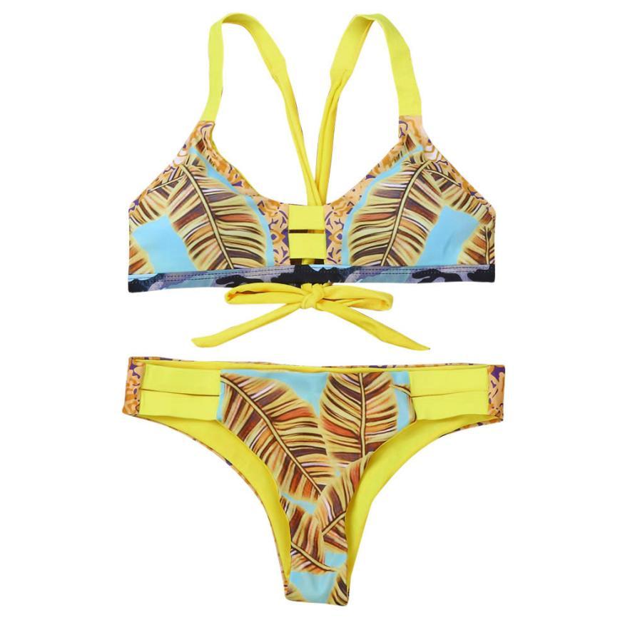 snowshine3 YLI Women Bikini Set Swimwear Push-Up Padded Leaf Print Bra Swimsuit Beachwear
