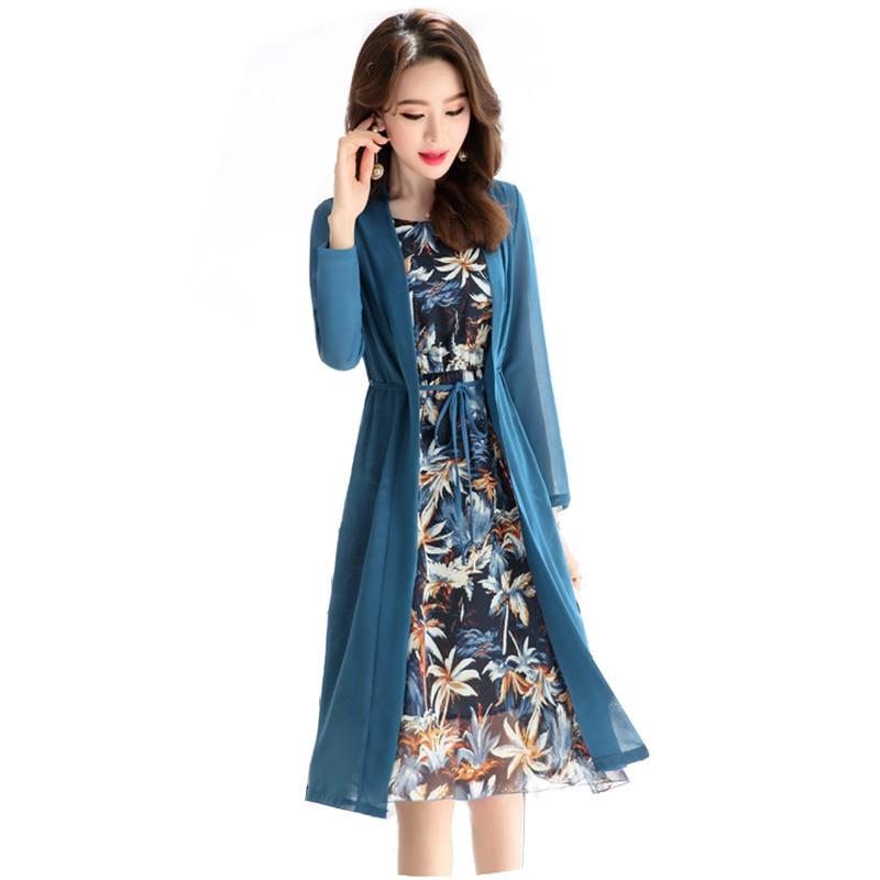 2018 Fashion Chiffon Tow Piece Set Dress Suits Vintage Print Floral Women Spring Dress Plus Size 2XL Loose Casual Dress YM355