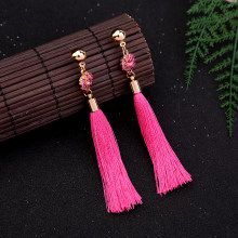 Pink & Grey Flower Tassel Fringe Earrings 2019 New Bohemian Long Drop Earring Fashion Jewelry Wholesale(China)