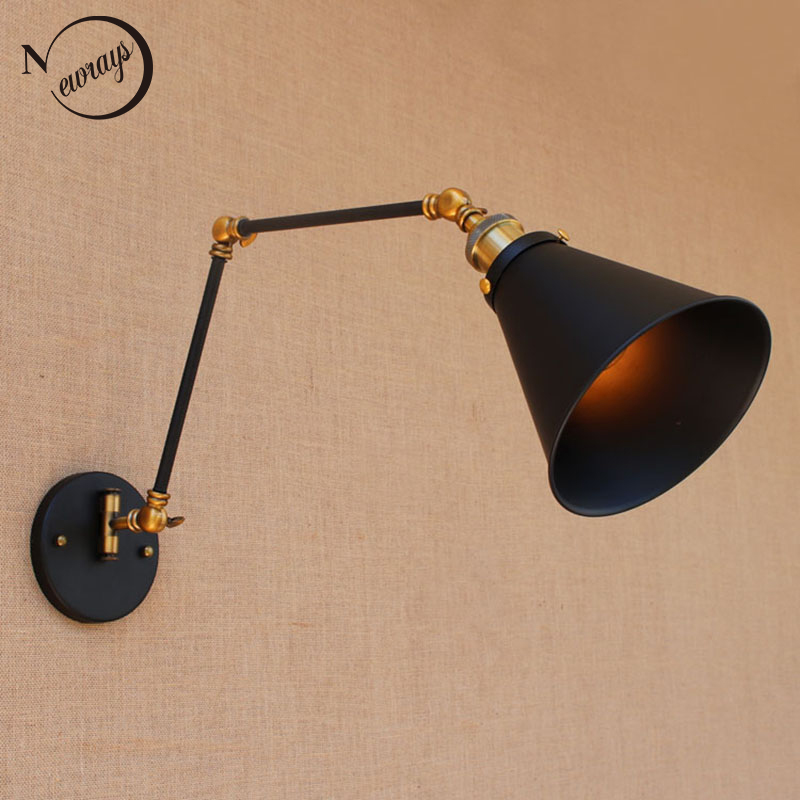 Retro antique black adjustable long head swing arm vintage wall lamp e27 lights sconce for bedroom bathroom dining room bar cafe new arrival iron net black adjustable double head lights wall mounted lamp industrial vintage wall lights for bar aisles e27