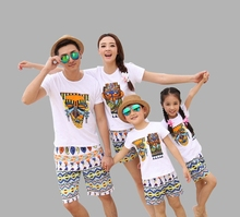 New arrival human face family clothes mother father daughter set t shirt pant family clothing look