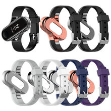 Factory Wholesale 100pcs Silicone Wrist Strap Watch Band With Metal Frame For Xiaomi mi band 3 Bracelet Accessories DHL Shipping(China)