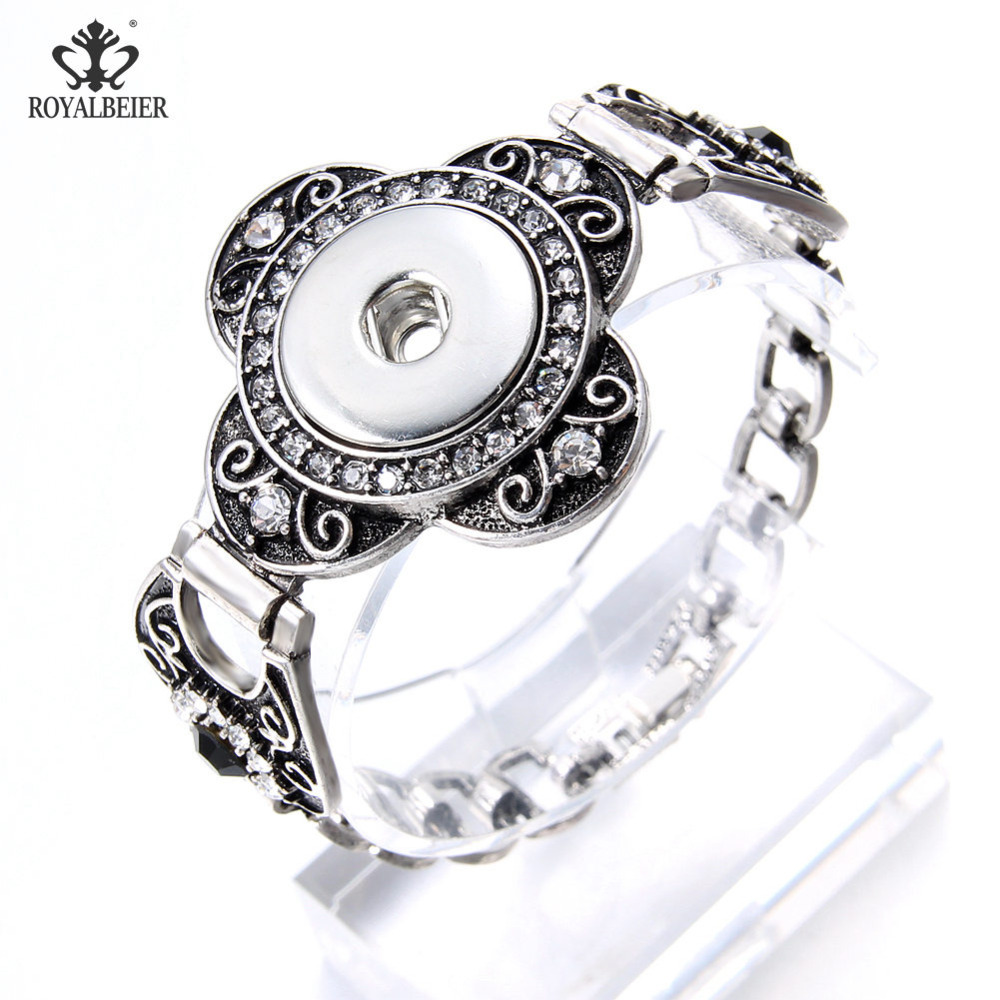 New Stainless Steel Charms Bracelet 18mm Snap Button Jewelry For Snaps Jewelry