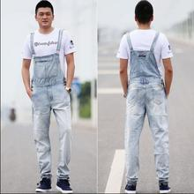 S-5XL 2016 New Men's singer clothing Thin casual trousers loose denim overalls Siamese pants overalls suspenders straight jeans