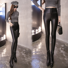 2XL plus size pants women spring autumn 2016 bermuda feminina outside thin panty tight leather pants female A1355