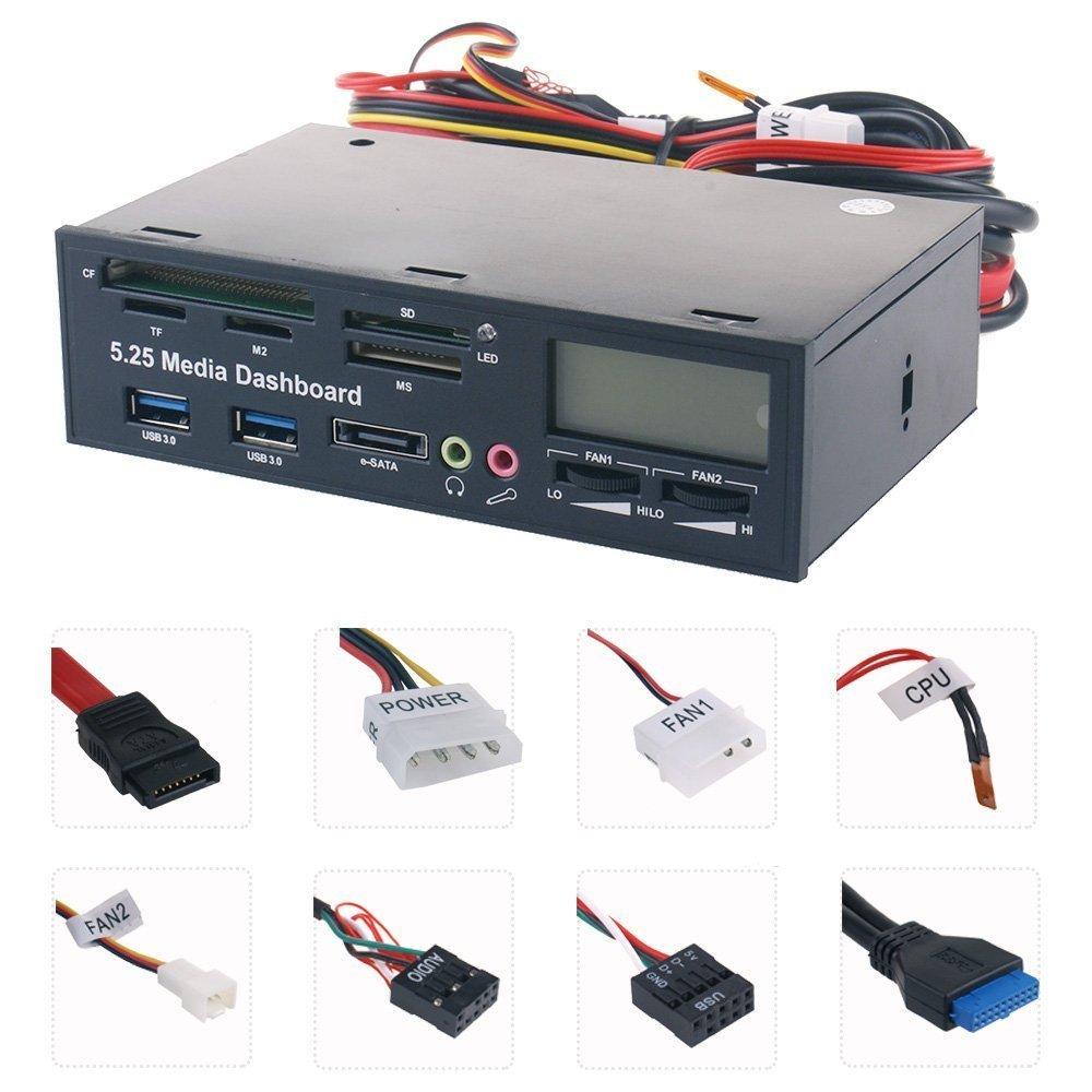 Panel multimedia multifuncional Panel frontal de ordenador de 5,25 pulgadas con SATA/eSATA, USB 2,0/USB 3,0, micrófono/auriculares Audio Po