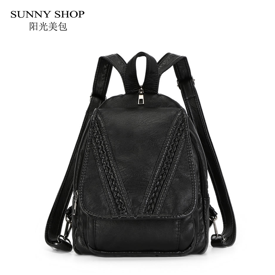 SUNNY SHOP Brand Designer Backpacks For Teenage Girls High Quality Very Soft PU Leather Backpacks For
