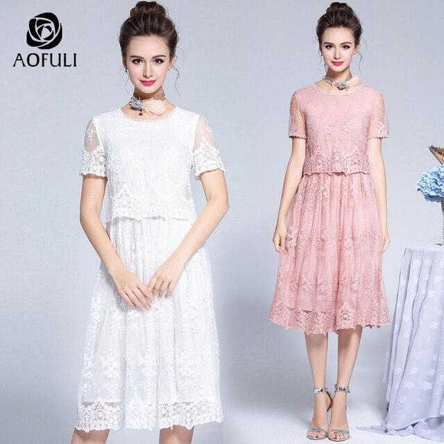 AOFULI M- 3XL 4XL 5XL Floral Embroidery Women Party Dress Fake 2 Pieces  Short Sleeve Big Size Summer Mid-calf Length Dress 05911 32ac54304933