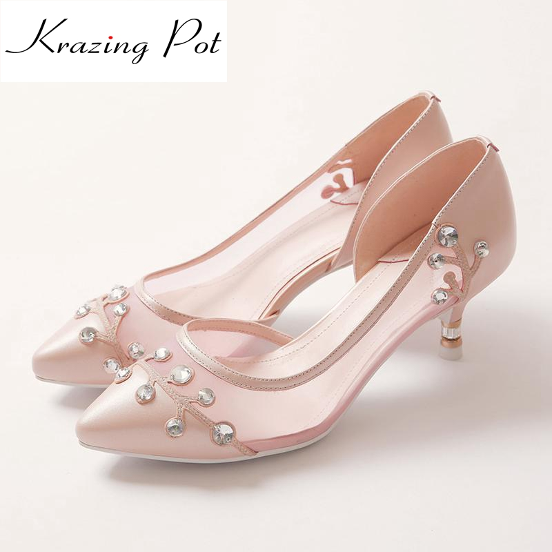 Krazing Pot air mesh genuine leather pumps stiletto high heels pointed toe diamond rhinestone slip on summer shallow shoes L68 new arrival genuine leather pointed toe high heels stiletto shallow metal buckle pumps slip on women brand wedding shoes l8f3