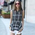 Вери güde лето стиль женщины раффлед плед блузки шифон блузка без рукавов