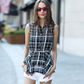 Veri Gude Summer Style Women Ruffled Plaid Blouses Chiffon Blouse Sleeveless