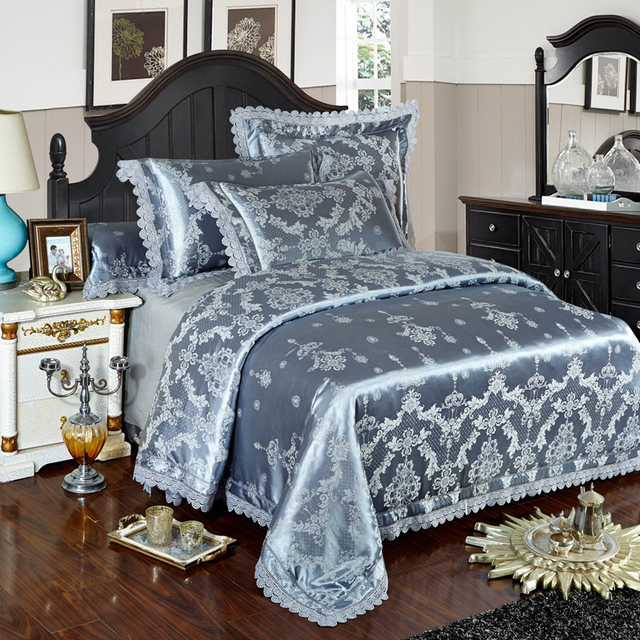 silber gold blaue spitze jacquard luxus bettw sche sets. Black Bedroom Furniture Sets. Home Design Ideas