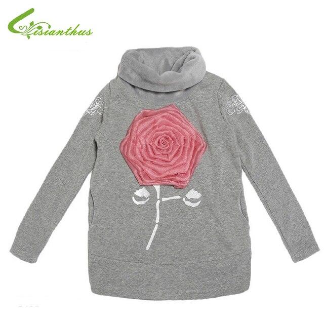 Дети девочка вельвет подкладка свитер дети девушки розы осень зима одежда водолазка спорт верхняя одежда бесплатная доставка