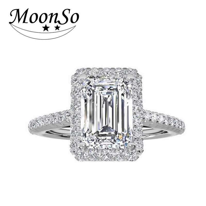 moonso new 2017 fashion girl 925 silver wedding rings cut engagement ring for women wedding jewelry aneis wholesale r1997