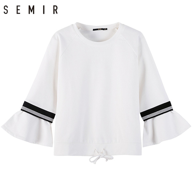 260ee14c2e75 SEMIR hoodies for sex women 2018 spring vintage style Round neck pullover  100% cotton flare