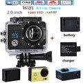 Go pro hero 4 style wifi esporte action camera full hd 1080 P 12MP 2.0 polegada À Prova D' Água 30 M Esporte Câmera Adicionar Bateria e carregador