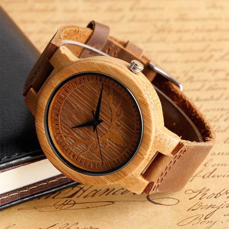 Unikatowy łosia renifera Dial ręcznie robiony Natura drewno zegarek - Męskie zegarki - Zdjęcie 3
