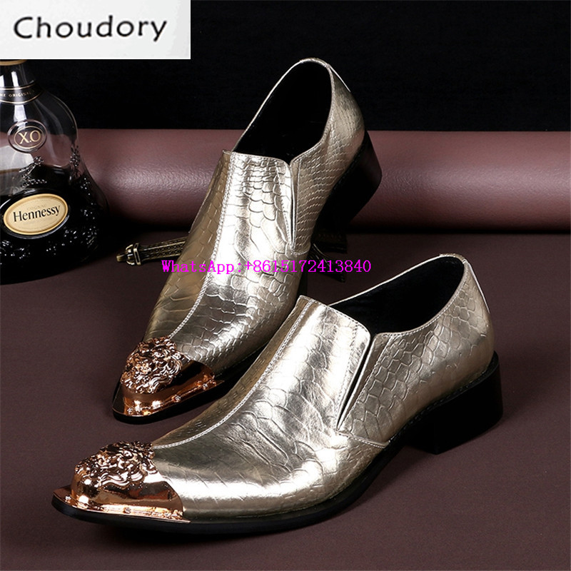 Choudory Breathable Height Increasing Fluorescent Light Men Shoes Casual Pointed Toe Med Heels Print Steel Toe Work Shoes Men