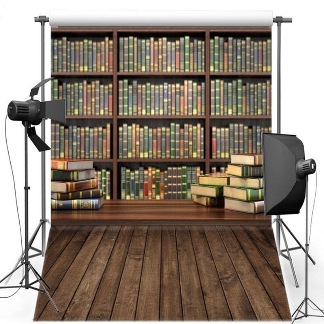 Modern Fabric Book Bookshelf Bookcase Old Library Backdrops Vinyl Cloth Computer Print Party Photography Background