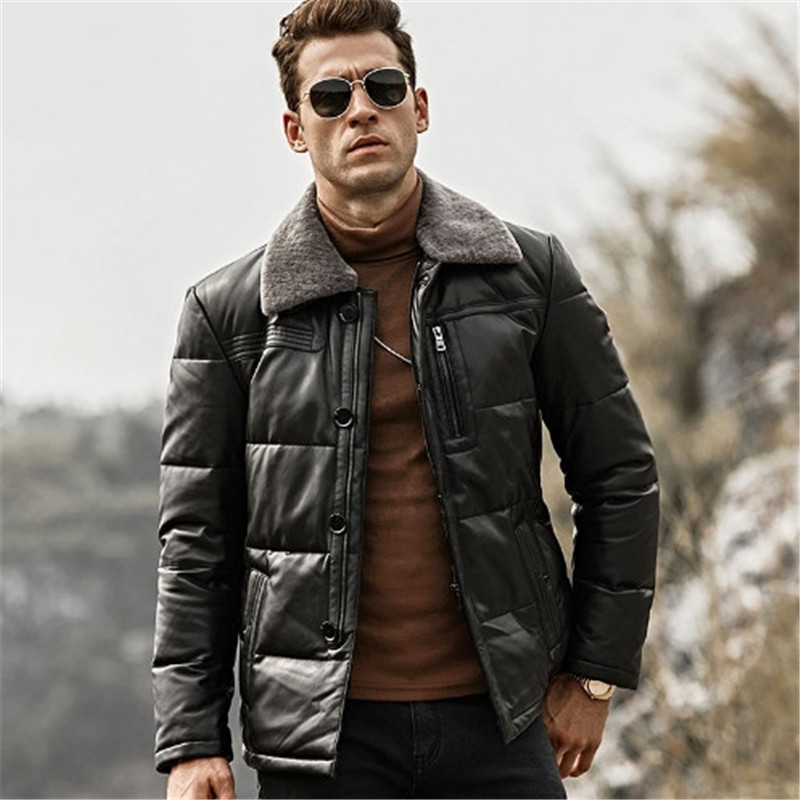 Winter Warm Down Coat with Removable Sheep Fur Collar Male Duck Down Leather Jacket Men Lambskin Genuine Leather Jacket