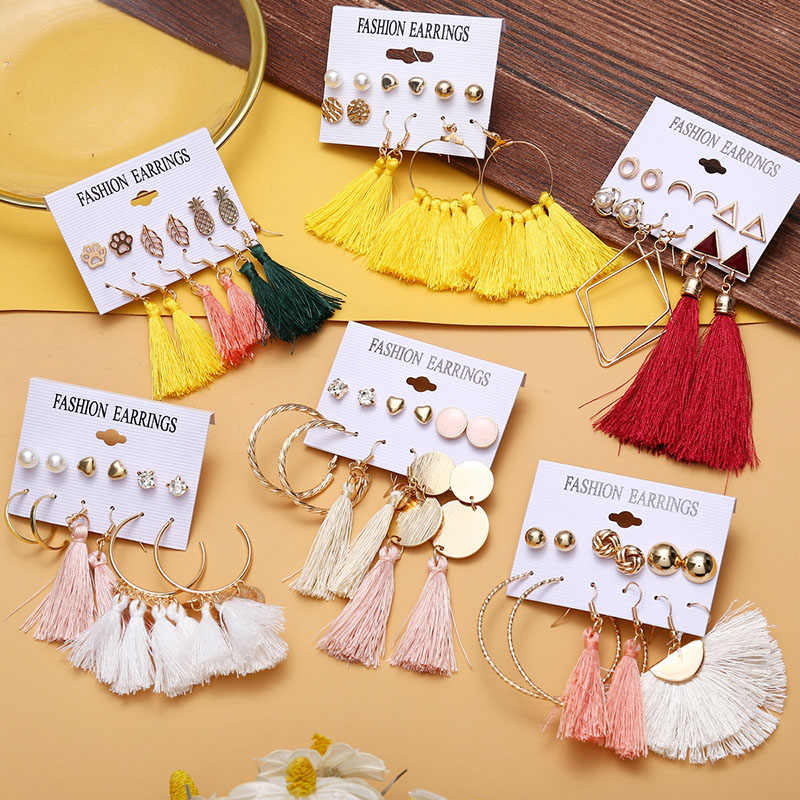 Bohemian Earrings Set For Women Long Tassel Boho Red Earrings Geometric Big Drop Earring Pearl Earings Female Jewelry