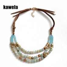 Free Shipping New Design Fashion Three Layers Amazon Stone Brown Leather Necklace