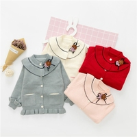 New Autumn Winter Baby Girls Long Sleeve Ruffles Flower Princess Cardigans Kids Knitwear Sweater Infant Outerwear