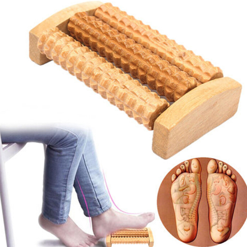 Wood Full-body Four Wheels Wooden Car Roller Relaxing Hand Massage Tool Reflexology Face Hand Foot Body Therapy Lift Tool 5