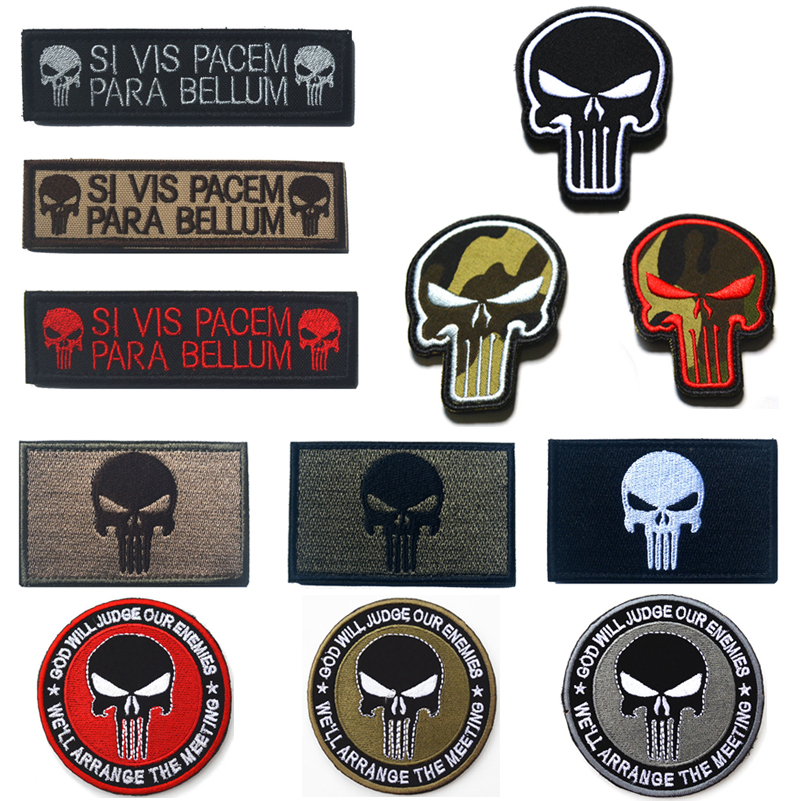 Embroidery Patch Tactical Skull Punisher Morale Patch Badge Appliques Emblem Military Biker PVC Patches for Clothing emblem