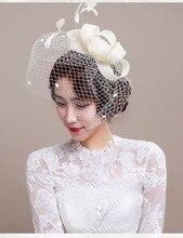 Nueva Moda Sombreros Mujeres Sombrero Iglesia Wedding Party Cocktail Accesorios Para el Cabello Diadema Tocado de Plumas de Lujo