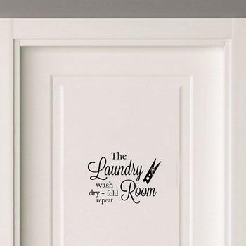 Художественные виниловые наклейки на двери для прачечной, водонепроницаемая наклейка для украшения дома, A2305