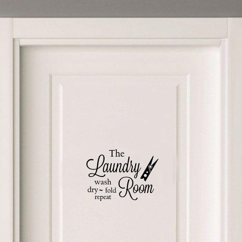 Artistic Laundry Room Vinyl Door Sticker Waterproof Home Decoration Wall Sticker A2305