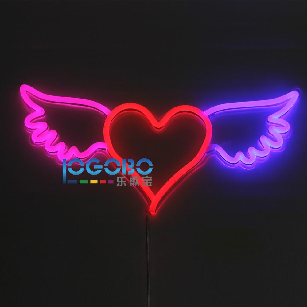 Flex Led Neon Sign Angel Wing Heart Pink Red and Blue Logotipo de empresa personalizado o Home Bedroom Wall Flashing Art Lámpara de letrero de neón